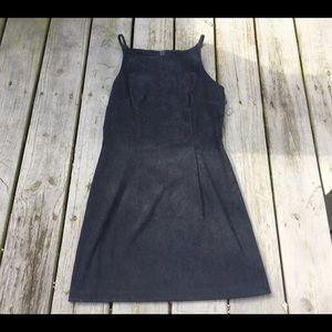 Vintage 80's Suede Mini High Neck Dress 🌿